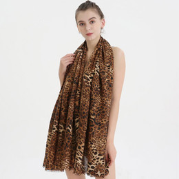 leopard scarf cotton Canada - Large Leopard Print Womens Scarfs Satin Cotton Winter Autumn Wrap Blanket Long Warm Thickened Lady Classical Fashion