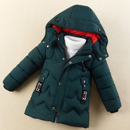 Wholesale quilting jackets resale online – INS HOT Children s padded jacket kid s winter clothes thick handsome mid length Wavy quilting line kids parka hooded colors C1118