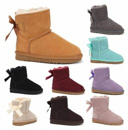 2021 fashion Children's Shoes Australia WGG Womens in Real Leather Girls Snow Boots with Bows Kids Winter Boots Casual Shoes z4rO#