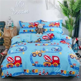 cotton trucks Australia - Trucks Tractors Cars Airplane printed Boys Blue Duvet cover Bed Sheet Set Pillowcase 100%Cotton Twin Queen size Bedding set1