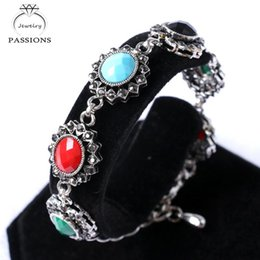 vintage antique turkish jewelry 2021 - PASSIONS Hot Fashion Turkish Style Colorful Resin Oval Connect Bead Bracelet Vintage Look Antique Silver Plated Bracelet Jewelry
