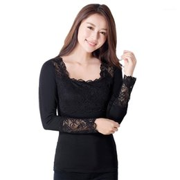 Wholesale lace undershirts for sale - Group buy Women Sexy Lace Model Cotton Tops Tees Long Sleeve Slim T Shirt Basic Undershirt Casual Female Stretchy Knit Jumper Tee Topic1