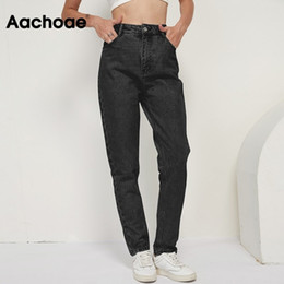 Wholesale mom pants for sale - Group buy Aachoae Fashion Cotton Mom Jeans Women High Waist Solid Pockets Cowboy Pants Zipper Fly Long Denim Pencil Trousers