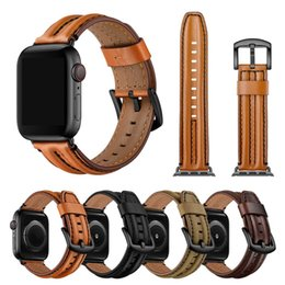 Wholesale apple leather loop resale online - Real Cowhide Leather Strap for Apple watch band mm mm iwatch Accessories Loop Straps mm mm Replacement Bracelet Watchband