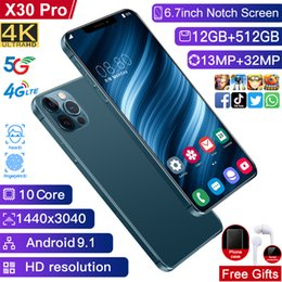 Discount unlock smartphones sim x30pro smartphones 12GB RAM 512GB ROM 48MP celulares face ID unlocked android mobile phones wifi WCDMA global 4G LTE