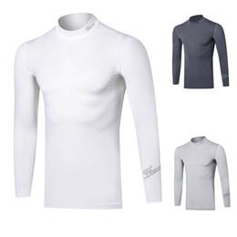 Golf wear ice silk long sleeve sunscreen base coat breathable sweat wicking elastic lightweight anti UV men's top on Sale