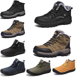 New Winter leisure sports cotton shoes Mens platform warm and velvet padded snow shoes Outdoor lightweight high-top hiking shoes 39-45 on Sale