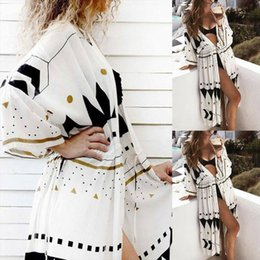 Wholesale long sleeve shawl blouse for sale – plus size Fashion Women Boho Floral Loose Shawl Kimono Cardigan Top Long Sleeve Casual Beach Cover up Blouse