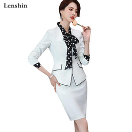 women office dress suits 2021 - Lenshin 2 Piece Elegant Formal Patchwork Skirt Suit Fashion Binding Blazer Office Lady Uniform Designs Women Business Sets