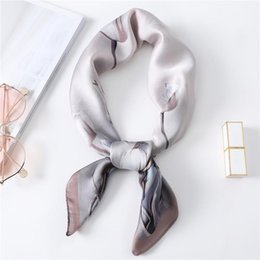 Discount scarf trends 2020 Spring New Trend Square Scarf Women Small Floral Print Silk Scarves High Quality Shawls Wraps Foulard Bandana Femme