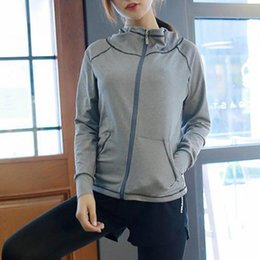 running hoodies for women UK - Workout Hoodie Women Zipper With Pockets Running Jackets Gym Hoodie For Women Long Sleeve Quick Dry Breathable Gym Yoga Jacket