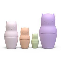 Großhandel Matryoshka Puppen Spielzeug Für Baby Weiches Silikon BPA Kostenloses Stapeln Nesting Puppe Kleinkind Stapler Spielzeug Set von 4