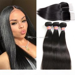 Wholesale brazilian girls for sale - Group buy Brazilian Virgin Hair With Closure Straight Human Hair Bundles With Closure Natural Color Free Middle Part SASSY GIRL