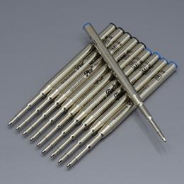 Vente en gros Haute qualité (10 pièces / lot) 0.7mm Noir / bleu Recharge de l'encre bleue pour stylo à bille Papeterie Écrivez des accessoires de stylo lisse