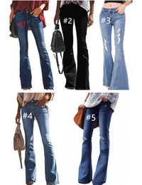 ingrosso i jeans svasati-5Colors Flare Jeans Jeans Jeans Donne Jeans Fashion Ladies Bell Bottom Jeans Leggings Girls Denim BootCut Washed Denim Pantaloni pantaloni S XL CZ112304
