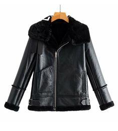 Опт Новая осень зимний дизайн мода женский искусственный ягненок меховой меховой лоскутный буква печатать замшевую кожу из теплой куртки пальто плюс размер s m l xl