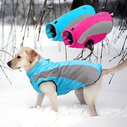 Discount gold dog clothes Warm Big Dog Clothes Waterproof Winter Large Dog Coat Jacket For Medium Large Dogs Bulldog Golden Retriever Labrador Clo