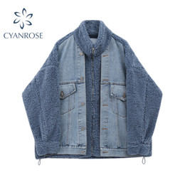 Wholesale snow coats for women resale online - Casual Thick Warm Blue Winter Coat For Women Streetwear Fashion Lamb Wool Patchwork Denim Jackets Snow Basic Female Outwear Tops