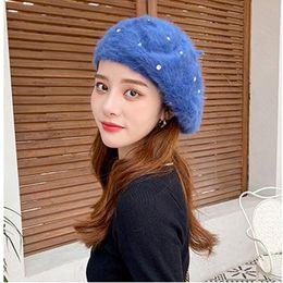 Wholesale hip hop artists for sale – custom Winter women casual thick Faux beret cap Lady girl warm berets hat Rhinestone pearl Hip hop Artist pumpink hats gorros