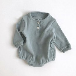 baby threads clothing NZ - Baby Rompers Boy Girls Newborn Baby Threaded Open Collar Long Sleeve Clothes Long Sleeve Girls Winter Autumn Baby Outfits Clothe 201028