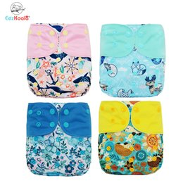 fitted cloth diapers 2020 - EezKoala 4pcs set Washable Eco-Friendly Cloth Diaper Cover Adjustable Nappy Reusable Cloth Diapers Cloth Nappy fit 3-18k
