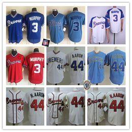 Mens Vintage 1980 Mesh # 3 Dale Murphy Jersey Cucita Bianco Crean Cream Zipper # 44 Hank Aaron Jerseys S-3XL in Offerta