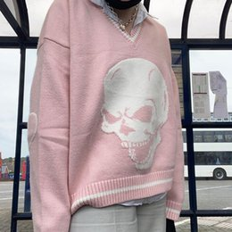 Wholesale knitted skull sweater for sale - Group buy ALLNeon Grunge Aesthetics Skull Graphic Knitted Y2K Sweaters Punk Style V neck Long Sleeve Oversized Jumpers Vintage s Tops C1121