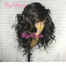 loose curls human hair wigs UK - Bythair Short Human Hair Lace Wigs Virgin Brazilian Loose Curly Lace Front Wig Natural Curl Full Lace Human Hair Bob Wig