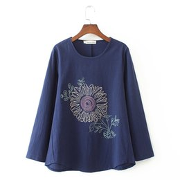 cotton trucks Australia - Blue Plus Orange Tops Xl-4xl Cotton Linen Flower Embroidery Women's Vintage Trucks Size Big Shirts P97m