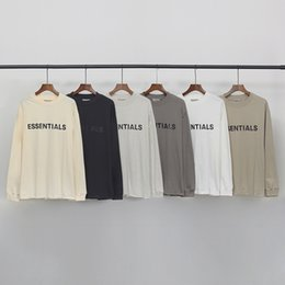 Wholesale long sleeve shirts resale online - 2020 Hip Hop Fear of God Front Essentials Tee Skateboard Thin Hoodie Cool Tshirt FOG Men Women Cotton Long Sleeve Casual T Shirt