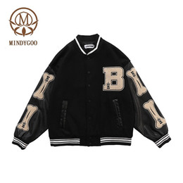 Wholesale jacket patches for sale - Group buy MINDYGOO high quality jacket OEM custom designer sports winter varsity baseball fleece fashion streetwear women men clothing