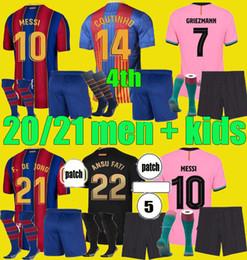 Quarto Camiseta de Futbol 2020 2021 Griezmann Ansu Fati Messi 20 21 Jersey Soccer Coutinho de Jong Enfants Camisa de Futebol Homens Kits Kits em Promoção