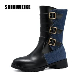 stitching horse leather 2020 - Chunky Heels Colorful Stitching Boots PU Leather Shoes Woman Round Toe 3 Metal Buckle Horse Riding Boots Winter va106 ch
