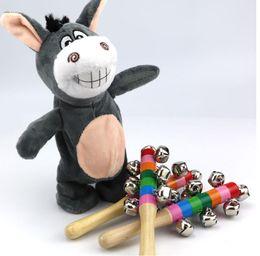 Wholesale Wooden Stick Bells Rainbow Handel Shake Bell Rattles Baby Kids Children Educational Toy - Random TNT Fast Delivery