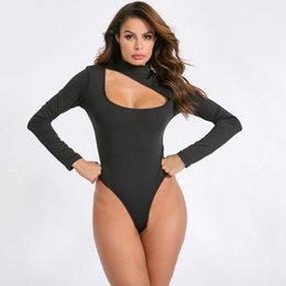 ingrosso tratto catsuit-Donne sexy Dolcevita Body Maniche lunghe Maniche Leotard Top Hollow Out Catsuit Stretch Leody Bodysuits Black