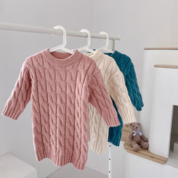 Wholesale knit a sweater for sale - Group buy Free DHL New Style Girls Knitted Dress Fashion Cotton Autumn Winter Fashion Girls Dresses Blank Cotton Sweaters Tops Outwears Clothes