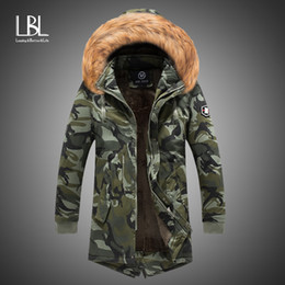 Discount men s winter jacket fur hood New Mens Camo Parka Camouflage Jacket Winter Hooded Velvet Thick Windproof Coat Men Warm Male's Medium-long Military Parkas 201119