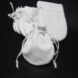 Großhandel Schmuckbeutel Taschen Weiß Samt für Pandora 925 Sterling Silber Charme Perlen Armband Halskette Mode