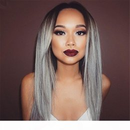 straight human hair full lace wigs Australia - Grade 8A 100% Brazilian Grey Ombre Full Lace Wig Human Natural Hair Glueless Grey Silver Ombre Straight Lace Front Wigs