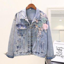 Wholesale womens flowered jackets resale online - 2020 Autumn Three dimensional Flowers Embroidery Jean Jacket Female Students Long sleeved Denim Jackets Womens Casual Denim Coat
