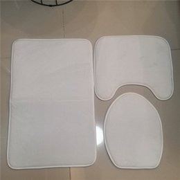 Wholesale Cheapest Sublimation bathroom mats DIY sublimation blanks batroom mats toilet lid cover thermal transfer white rug 3 pieces mats
