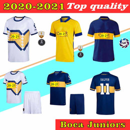 Wholesale white navy uniforms resale online - 2020 Boca Juniors DE ROSSI Soccer Jersey Home Tibet Navy Away yellow GAGO Soccer Shirts TEVEZ Benedetto Pavón football Uniform