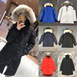 Wholesale womens parkas resale online - 2020 New Womens Designers Winter Coats Down Parkas Outerwear Clothes Hooded Windbreaker Women Warm Big Fur Women Clothing Down Jackets