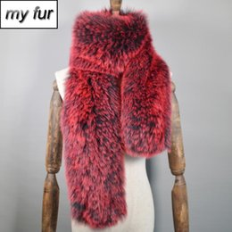 Discount natural scarves 2020 Long Style Good Quality Women Real Fur Scarf Warm Soft Knitted Real Fur Shawl Wrap Natural Scarves