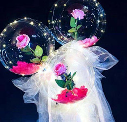 Wholesale LED rose bobo ball Light Luminous Balloon Rose Bouquet Transparent Bubble Ball for Valentine's Day Gift Wedding Decoration by sea GGA3844