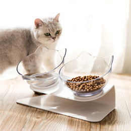 Wholesale Double Cat Dog Bowls Pet Food Water Bowl Non-slip Spine Protection Multi-Purpose Pet Feeding Bowl Ocean Ship Box Package HHA1700