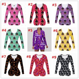 Women Jumpsuit Sexy Slim Casual Pattern Printed Long Sleeve Shorts Ladies New Fashion Home Onesies Rompers 2020 on Sale