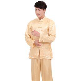 Plus Size XXXL estilo chinês homens pijamas de cetim set vintage button pijamas terno manga comprida sleepwear camisa de nightwear atacado em Promoção
