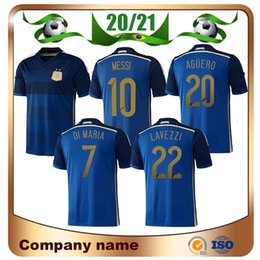 Discount argentina messi jersey 2014 World Cup Retro Argentina Away #10 MESSI Soccer Jerseys #7 DI MARIA #9 HIGUAIN #20 AGÜERO $14 MASCHERANO #20 LAVEZZI football Shirt