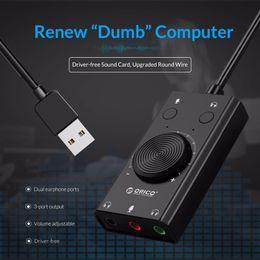 Vente en gros Carte audio USB externe pour un jeu d'ordinateur PS4 STEREO micro haut-parleur Headsette audio Jack 3.5mm adaptateur de câble Mute Switch Switch Volume Réglage du volume